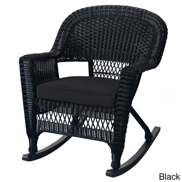 Black Rocker Wicker Chair with Cushions (Set of 2) - 16446305 ...