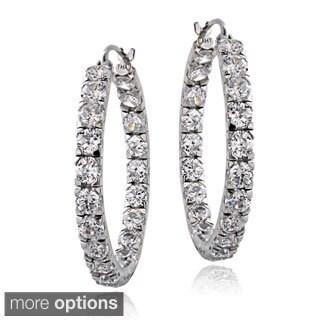 ICZ Stonez Sterling Silver 4 5/8ct TGW Cubic Zirconia Inside-out Hoop Earrings