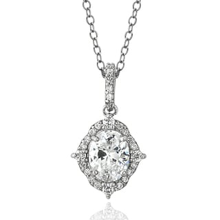 ICZ Stonez Sterling Silver 2 1/5ct TGW Cubic Zirconia Oval Vintage Style Necklace