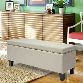 Baxton Studio Solippa Upholstered Storage Linen Beige Ottoman