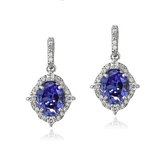 ICZ Stonez Sterling Silver 3ct TGW Blue and White Cubic Zirconia Oval Vintage Style Dangle Earrings