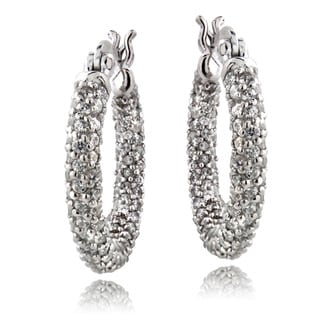 ICZ Stonez Sterling Silver 3 2/5ct TGW Cubic Zirconia Hoop Earrings