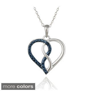 DB Designs Sterling Silver Blue or Black Diamond Accent Heart Necklace