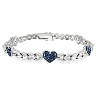 DB Designs Sterling Silver Blue Diamond Accent Heart Link Bracelet