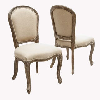 Maryland Fabric Weathered Wood Dining Chair (Set of 2)