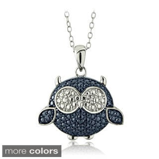 DB Designs Sterling Silver Blue or Black Diamond Accent Owl Necklace