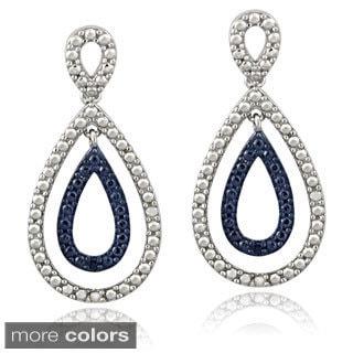 DB Designs Sterling Silver Blue or Black Diamond Accent Teardrop Earrings