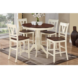Lovech Cherry and Cream Finish Counter Height 5-piece Dining Set
