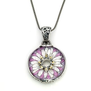 Micromosaic by Samuel B. Crushed Mult-gemstone Pink Flower Pendant Necklace