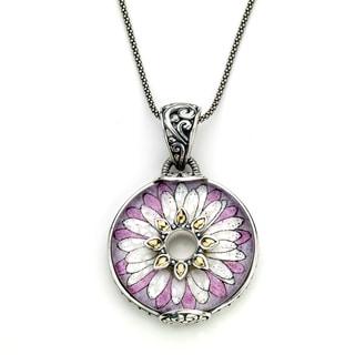 Micromosaic by Samuel B. Crushed Mult-gemstone Pink Flower Pendant Necklace