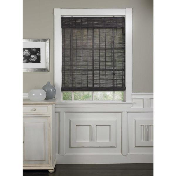 Bamboo Roll-up Shades in Grey Finish