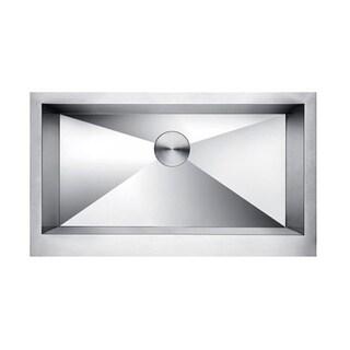 Lottare 600111 Zeromano Handmade Undermount Stainless Steel Apron Sink with Bottom Grid