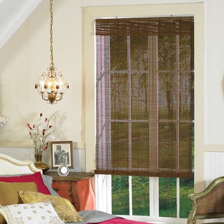 Imperial Matchstick Bamboo Roll-up Shades in Fruitwood Finish