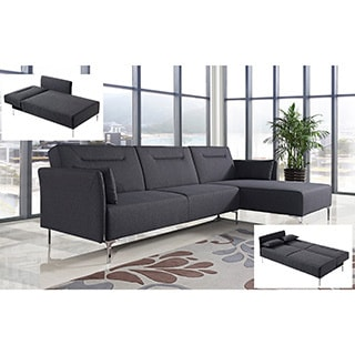 Ella Black Fabric Contemporary 2-piece Sectional Sofa Set