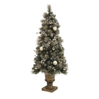 4.5-foot Pre-lit Silver Frosted Potted Christmas Tree