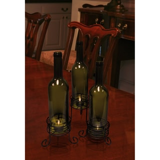 Epicureanit Recycled Wine Bottle Candle Holders (Set of 3)