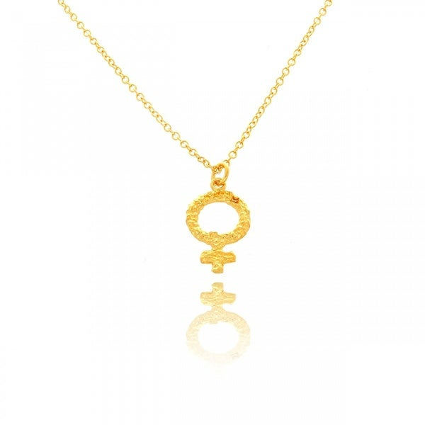 Belcho 14k Gold Overlay Small Textured Hammered Venus Symbol Pendant Necklace
