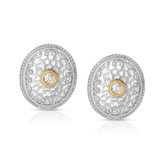 Eloquence 14k Yellow Gold and Sterling Silver 1/5ct TWD Diamond Earrings (H-I, I2-I3)