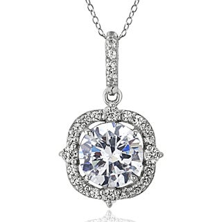 ICZ Stonez Sterling Silver 2 1/3ct TGW Cubic Zirconia Vintage Style Round Necklace