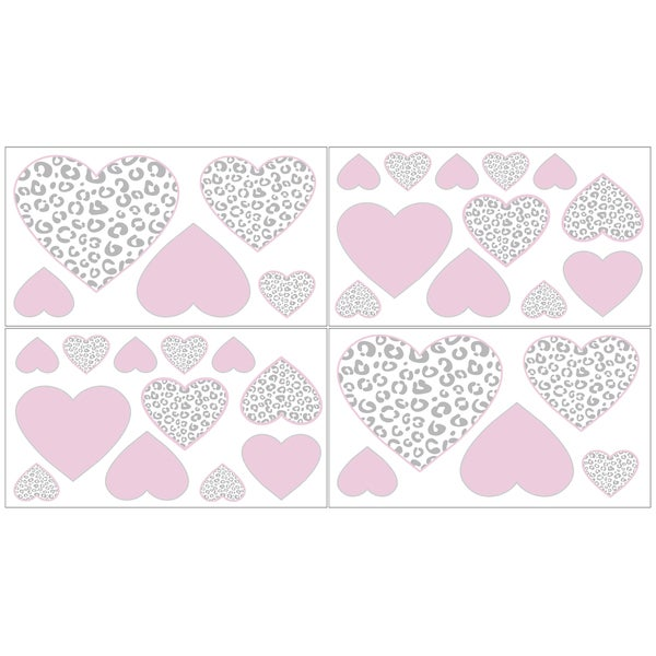 Sweet Jojo Designs Kenya Pink/ Grey Animal Print Wall Decal Stickers (Set of 4)