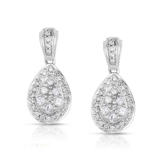 Eloquence 14k Gold 1/2ct TDW Diamond Cluster Teardrop Dangle Earrings (G-H, I2)
