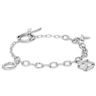 Eloquence Sterling Silver 1/5ct TDW Diamond XO Charm Bracelet (G-H, I1-I2)