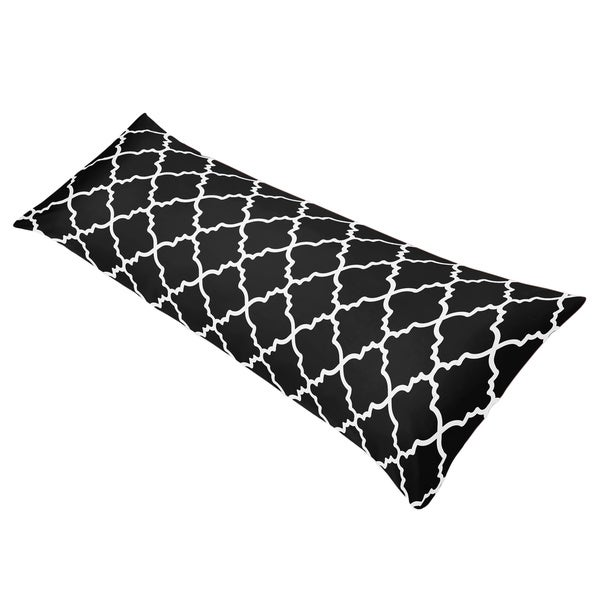 Sweet Jojo Designs Red/ Black Trellis Full Length Double Zippered Body Pillow Case Cover