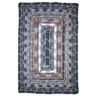 Feller Blue Cotton Rectangle Rug (2'3 x 3'9)
