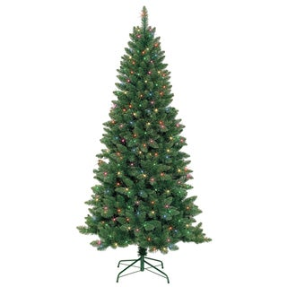 7-foot Slim Pre-Lit Artificial Christmas Tree With Metal Stand