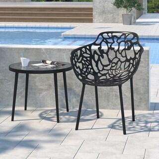 LeisureMod Devon Modern Black Aluminum Chair Outdoor chair Dining chair