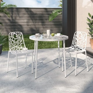 Somette Devon Modern White Aluminum Armless Chair (Set of 2)