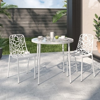 LeisureMod Devon Modern White Aluminum Armless Chair (Set of 2)