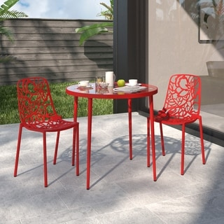 Devon Modern Red Aluminum Armless Chair (Set of 2)