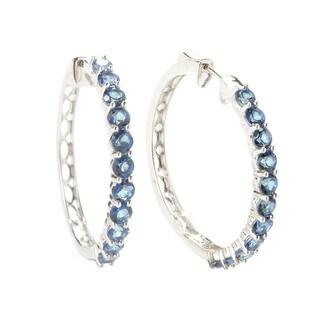 Sterling Silver Topaz Gemstones Hoop Earrings