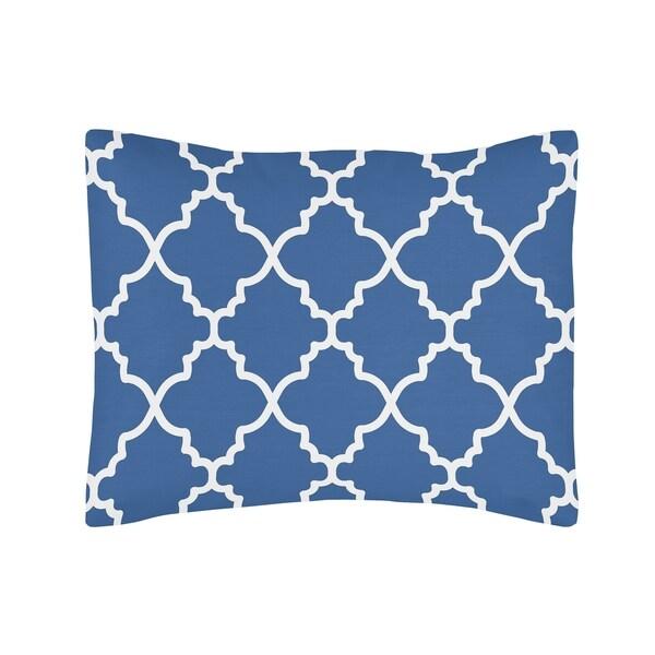 Sweet Jojo Designs Trellis Blue/ White Lattice Print Pillow Sham