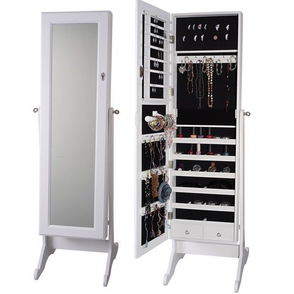 Premium white cheval mirror jewelry cabinet armoire box for Mirror jewelry cabinet