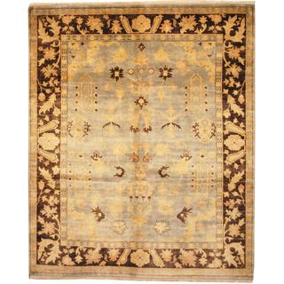 Herat Oriental Indo Hand-knotted Ushak Light Blue/ Brown Wool Rug (8' x 10')