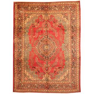 Herat Oriental Antique 1960's Persian Hand-knotted Mashad Red/ Grey Wool Rug (8' x 11')