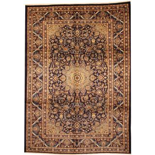 Herat Oriental Persian Hand-knotted Mashad Navy/ Ivory Wool Rug (8' x 11')
