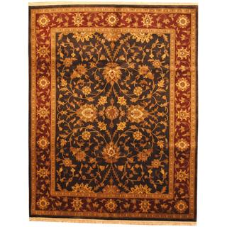 Herat Oriental Indo Hand-knotted Mahal Black/ Burgundy Wool Rug (8' x 10')