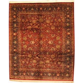 Herat Oriental Indo Hand-knotted Mahal Red/ Navy Wool Rug (8' x 10')