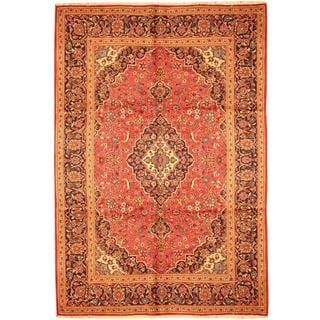 Herat Oriental Persian Hand-knotted Kashan Red/ Navy Wool Rug (8' x 11'7)