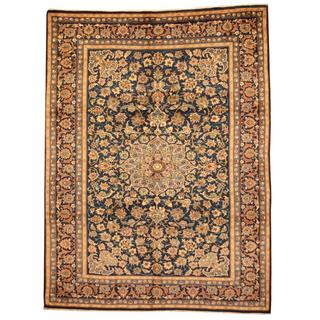 Herat Oriental Persian Hand-knotted Isfahan Navy/ Beige Wool Rug (7'10 x 10'5)