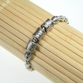 Tibetan Silver Cylinder Beads Bracelet (China)