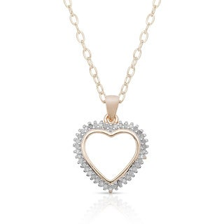 Finesque Sterling Silver 1/4ct TDW Diamond Heart Pendant Necklace (I-J, I2-I3) with Red Bow Gift Box