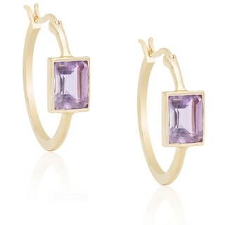 Dolce Giavonna Gold Overlay Amethyst Square Hoop Earrings