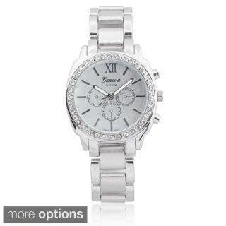 Geneva Platinum Women's Stainless Steel Rhinestone Chronograph Link Watch