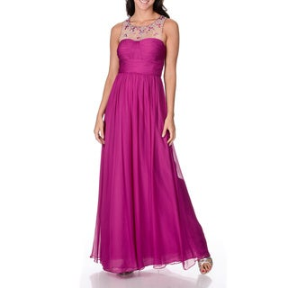 Decode 1.8 Women's Berry Silk Beaded Illusion Evening Gown