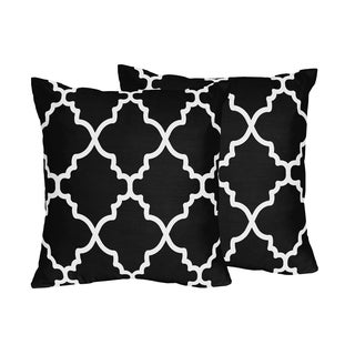 Sweet Jojo Designs Trellis Black and White Lattice Print Throw Pillows (Set of 2)