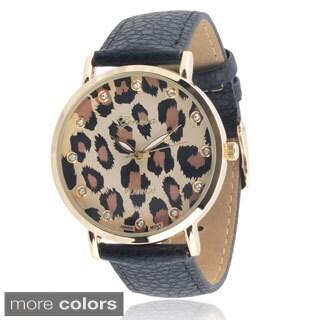 Geneva Platinum Women's Faux Leather Rhinestone Watch